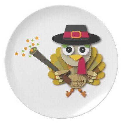 Colorful Thanksgiving Turkey Cartoon Melamine Plate   Thanksgiving Day  Family Holiday Decor Design Idea