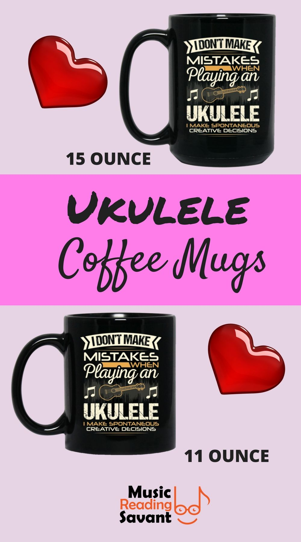 Ukulele coffee mug for ukulele players. Musicians will fall in love with their morning coffee all over again.   Music Reading Savant Store   Music Humor  #ukulele #coffeemug