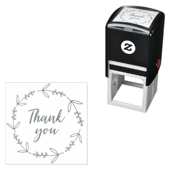 Photo of thank you wreath scribble decor self-inking stamps Zazzle.com