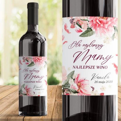 Etykieta Na Wino Kwiatowa Prezent Dla Mamy Wine Bottle Wine Bottle