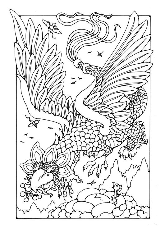 Coloring Page Flying Dragon Farglaggningssidor Adult Coloring