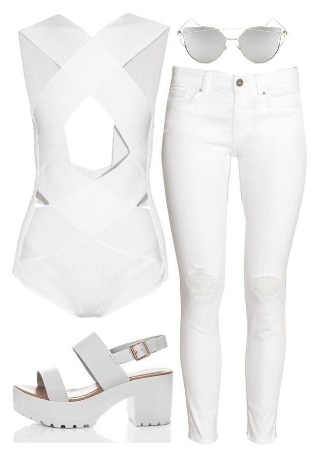 """all white er'dayyyy"" by fgshannah ❤ liked on Polyvore featuring Balmain, H&M and Chicnova Fashion"