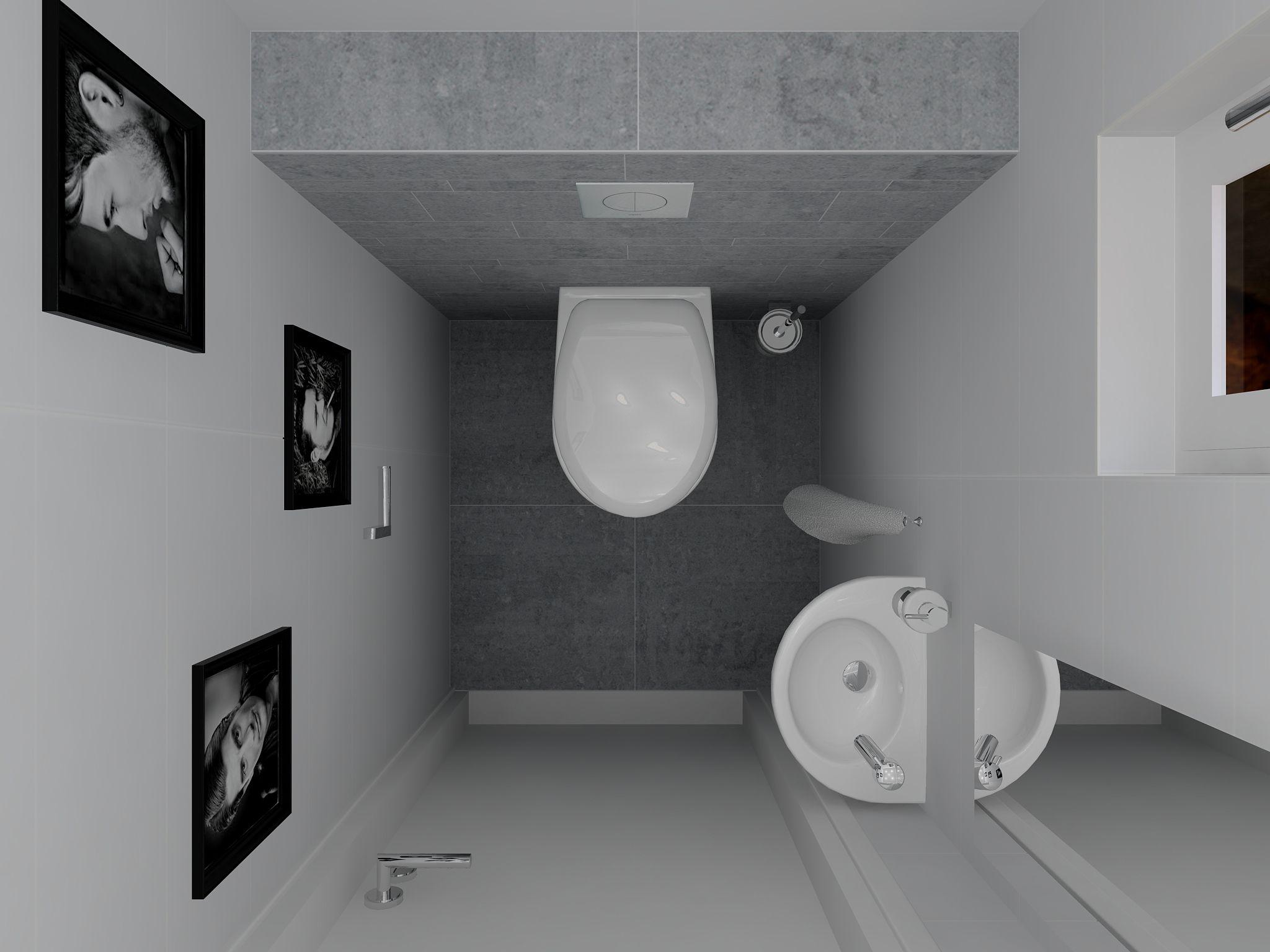 Toiletontwerp van klein toilet met grijs witte tegels