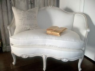 Full Bloom Cottage: reupholstered in 9 oz white linen