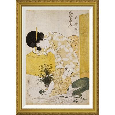 Global Gallery 'A Mother Dozing While Her Child Topples a Fish Bowl' by Kitagawa Utamaro Framed Painting Print