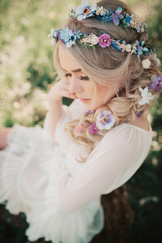 Cute purple lavender beige flower wedding hair pin set