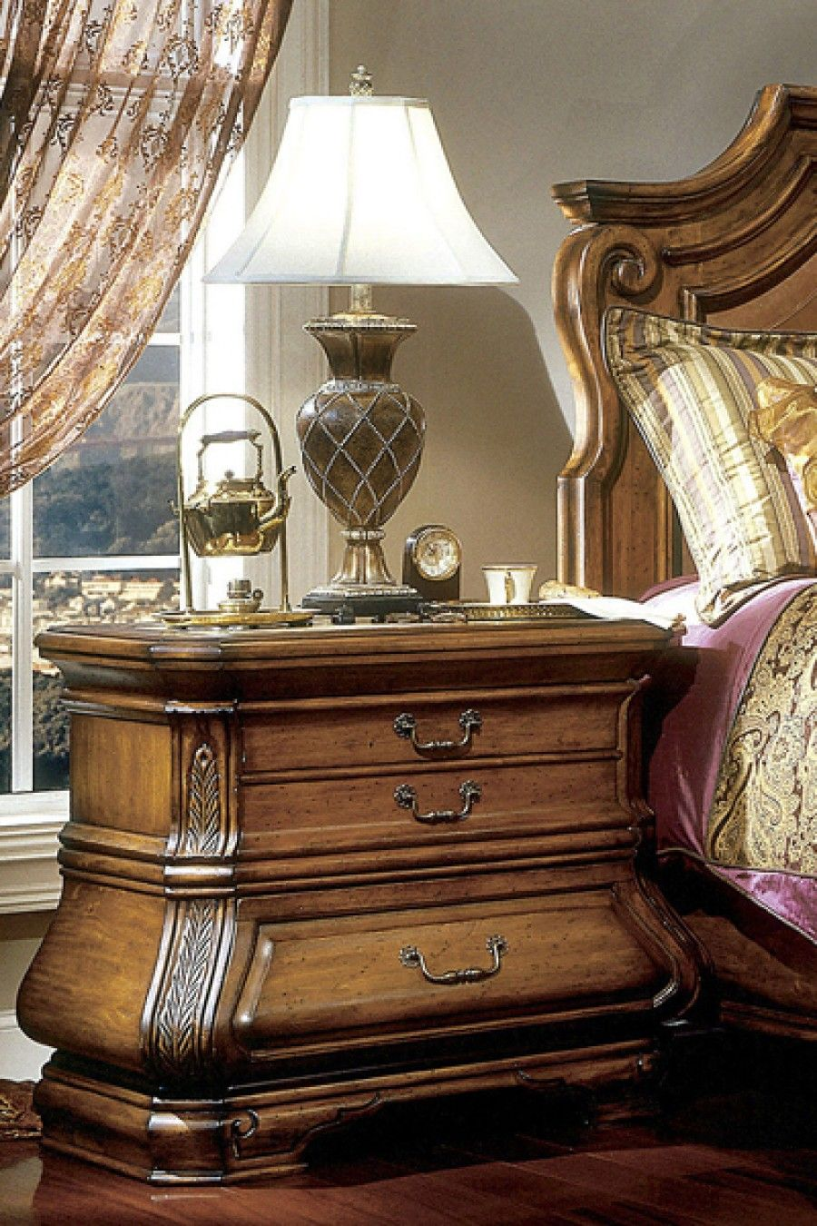 Best The Tuscano Nightstand Features Three Velvet Lined Drawers 640 x 480