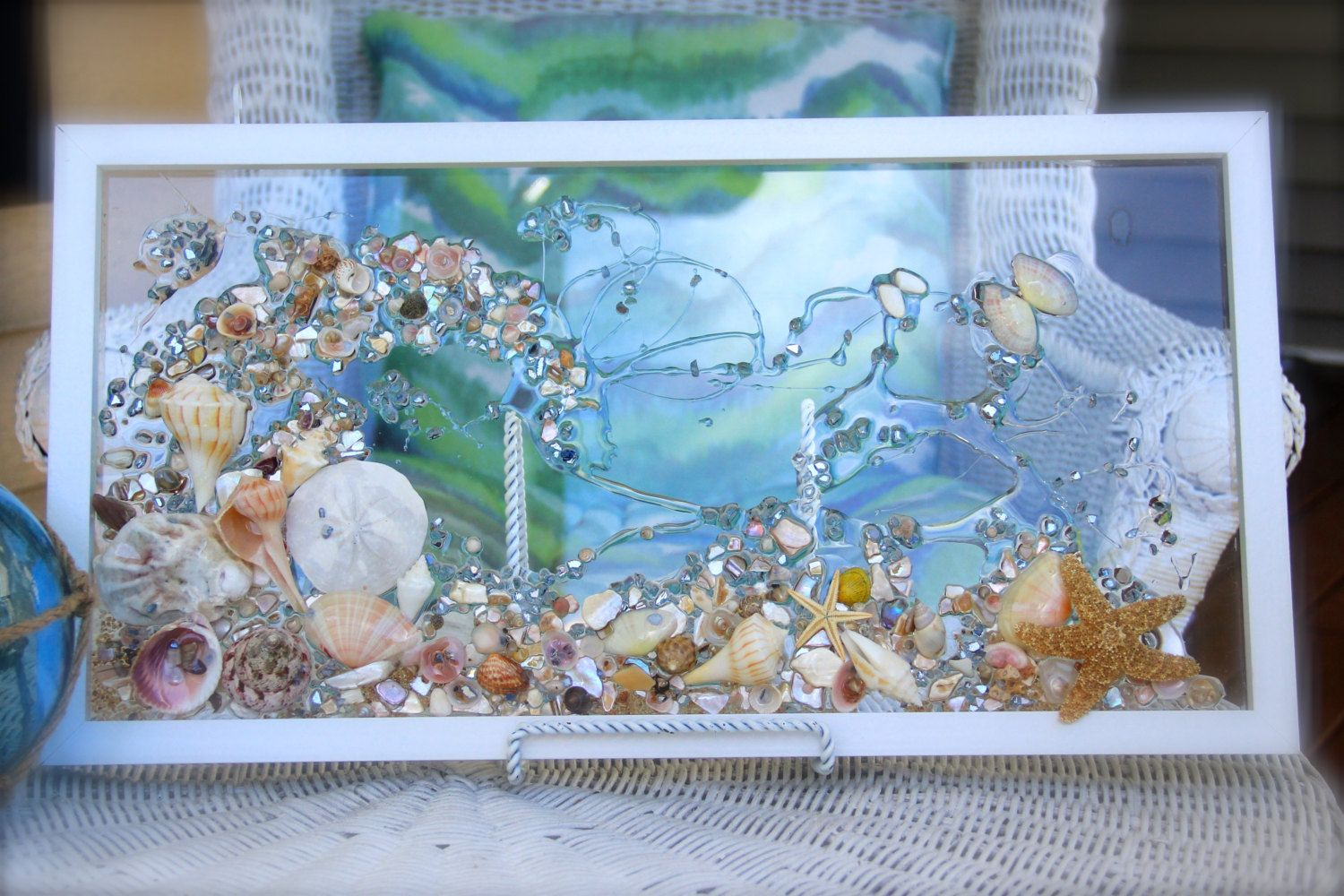 Sea Glass Wave Wall Hanging Beach Glass With Shells