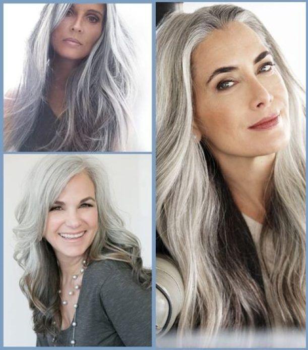 lange graue oder weiße haarschnitte - silbernes haar