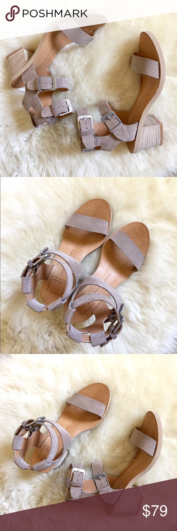 83f2e3d32402 Dolce Vita West Dual Ankle Strap Taupe Sandals New In Box- Taupe Suede  Heeled Sandals