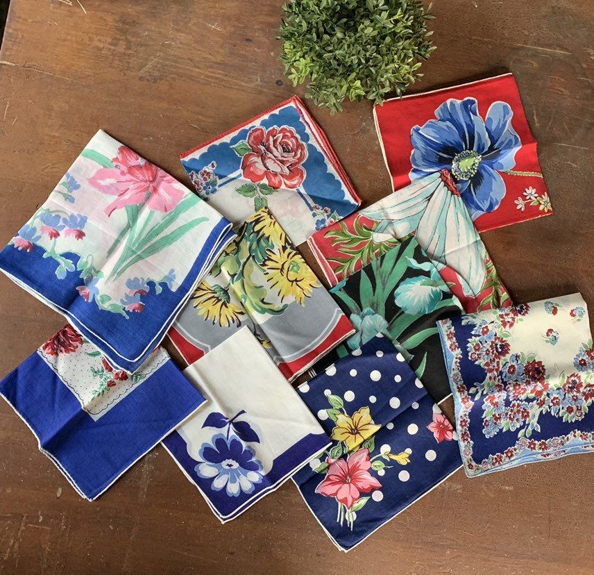 Lot of 9 Blue and Red Flower Handkerchiefs  Floral Hankies  Vintage Linens  Valentines Day Gift  Instant Collection  Sewing Fabric