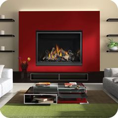 CHD46 Direct Vent Gas Fireplace: Due to the increasing popularity of gas fireplaces, nearly every homeowner wants one. They are not just for providing heat as well as decorative to your home. The impressive 46″ width is completely filled with realistic PHAZER® logs that are rich in colour and detail. As with the other CHD fireplaces, you can choose the optional river rock media tray with satin chrome decorative fender to create a dramatic contemporary design element in your home.    #AireOne…