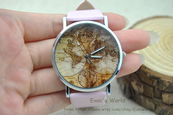 Silver Charm Fashion pink  Wrist Watch See map by Evanworld, $3.99 Fashion charm handmade personalized bracelet, the best gift.