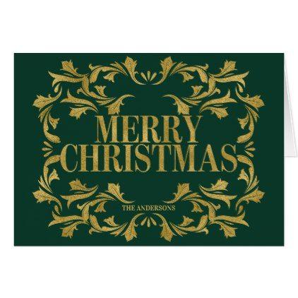 Elegant Ornate Gold Merry Christmas Greeting Card Merry christmas