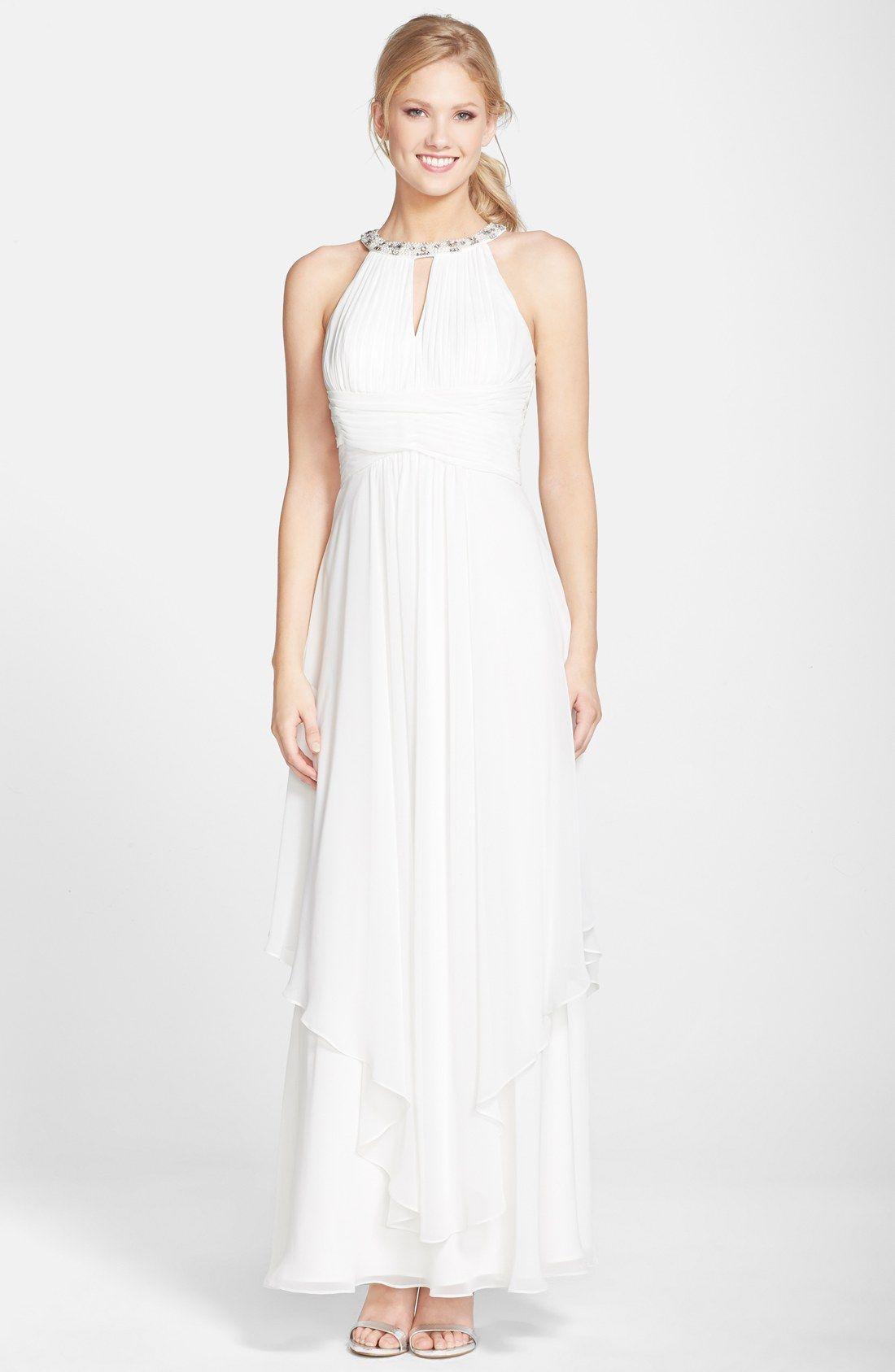 Eliza J Embellished Tiered Chiffon Halter Gown | Wedding Dresses ...