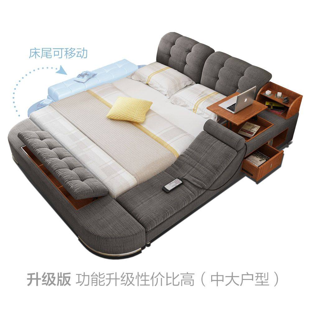 USD 593.42] Massage bed tatami bed fabric bed double bed storage bed ...