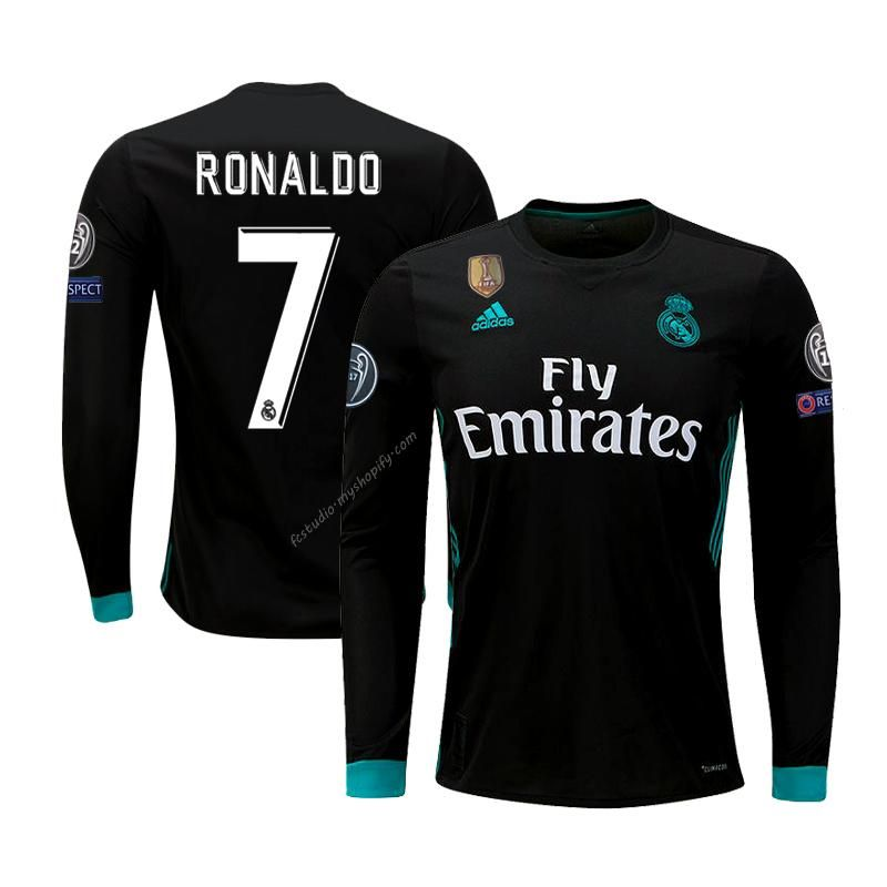 e98dffb8b Real Madrid Ronaldo jersey 17-18 champions long sleeve black shirt ...
