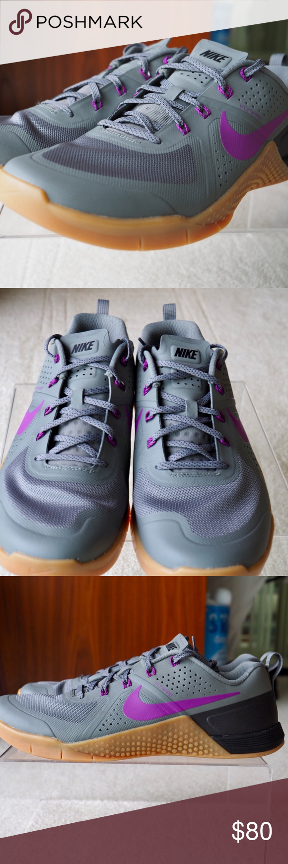 1bf723161c16 Nike Metcon 1 Cross Training Shoe New without tags box Style Code   704688-050 Color  Tumbled Grey Gum-Vivid Purple Nike Shoes Athletic Shoes