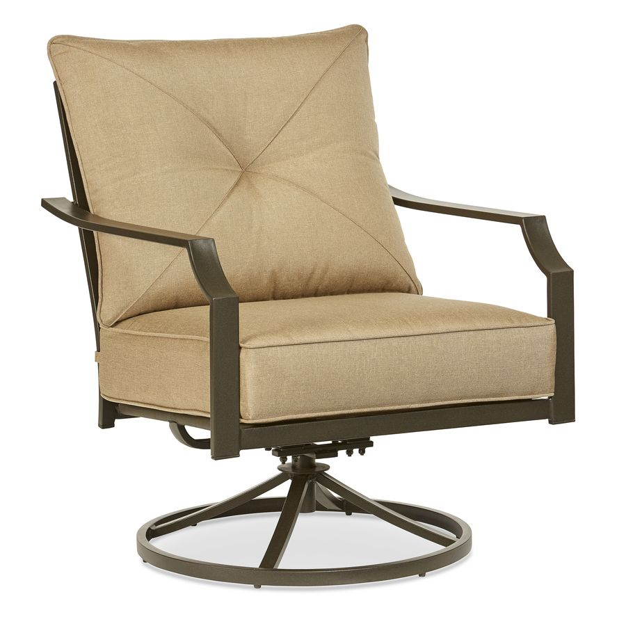 Garden Treasures Vinehaven 2 Count Brown Steel Swivel Rocker Patio  Conversation Chairs With Tan Cushions