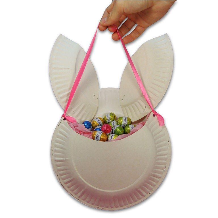 Easter Bunny Basket Made Of Paper Plates Or Thick Paper Pieces Are Fun Easter Craft Ideas For Kids Simple And Attractive Easter Bunny Basket