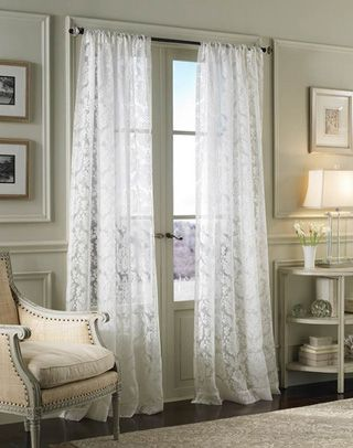 Traditional Damask Lace Pole Top Curtain Panel Lace Curtains