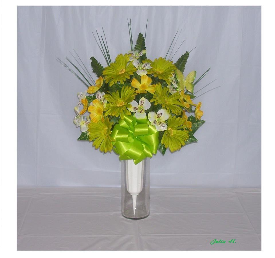 Cemetery Vase Arrangement Artificial Silk Flower Arrangement