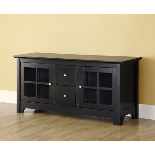 52 Quot Transitional Wood Glass Media Tv Stand Storage Console