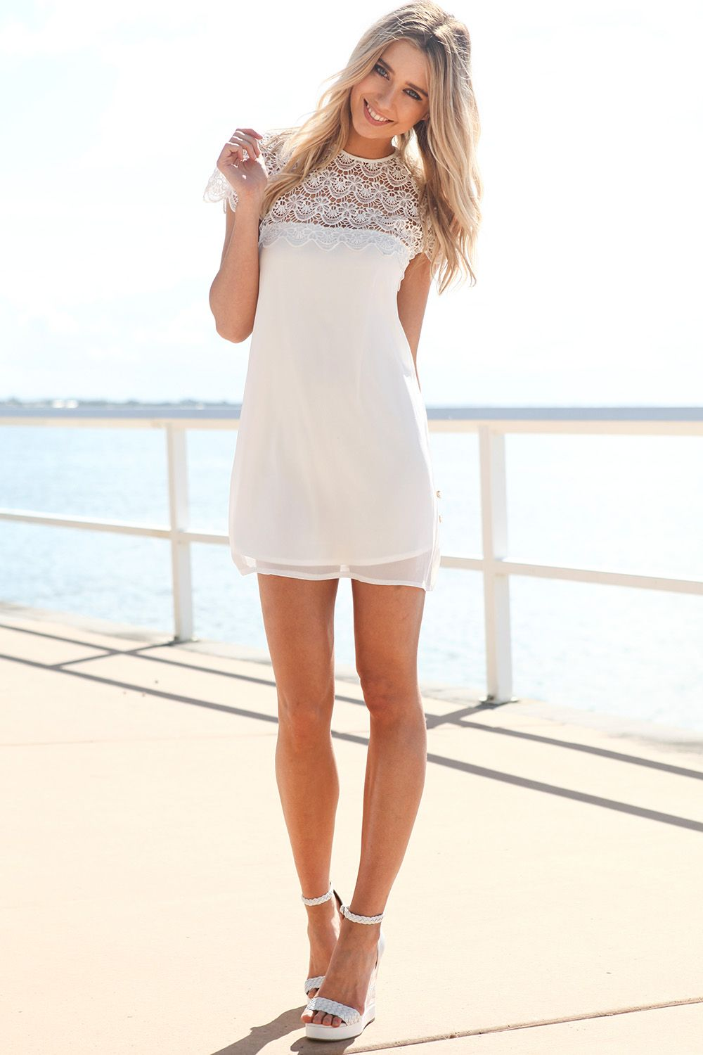 White Cocktail Dress - White Short Sleeve Dress with | UsTrendy ...