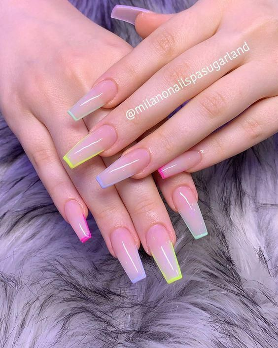 10 Sizzling Summer Nail Art Looks That Will Definitely Turn Heads In 2020 Ombre Acrylic Nails Best Acrylic Nails Pretty Acrylic Nails