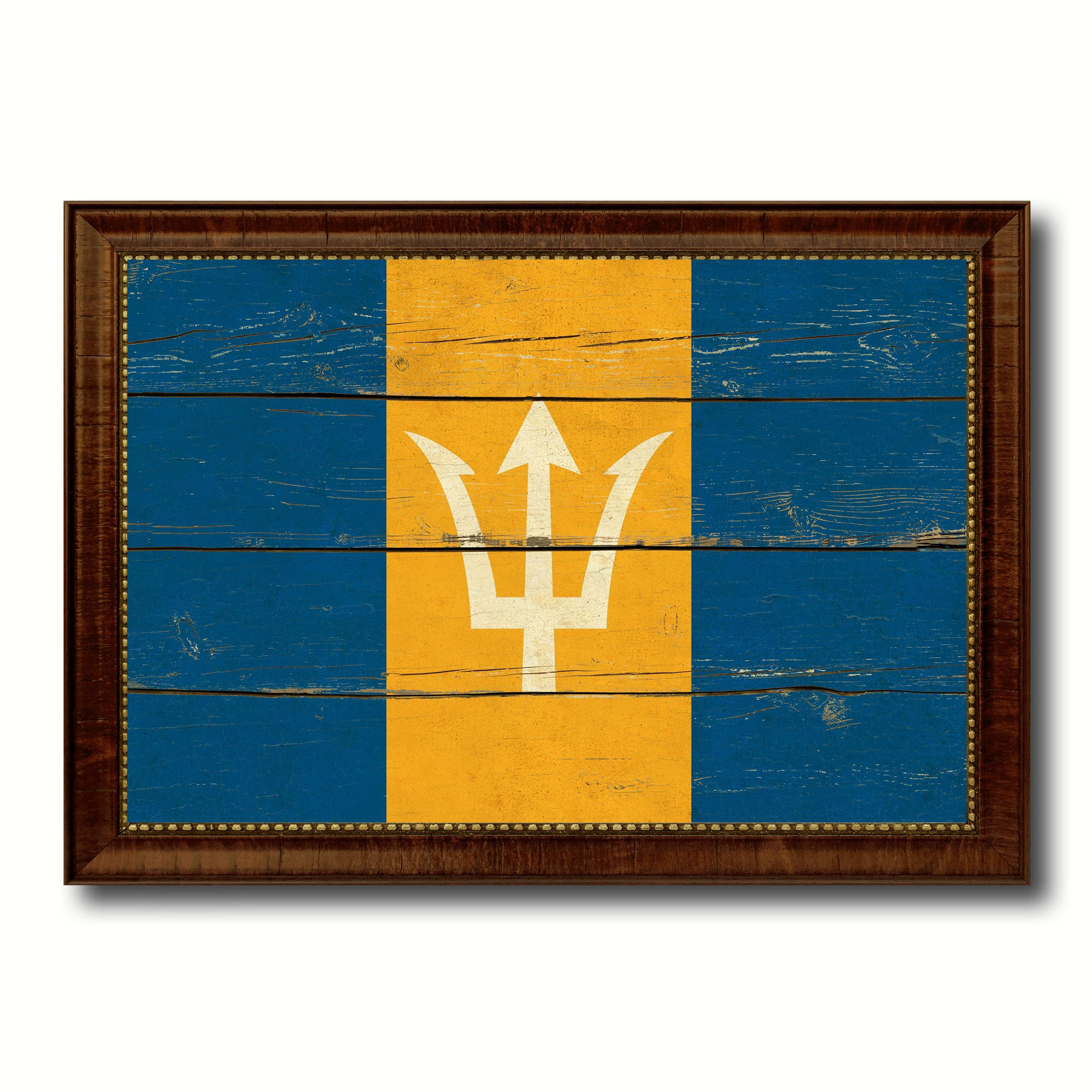 Barbados Country Flag Vintage Canvas Print with Brown Picture Frame ...