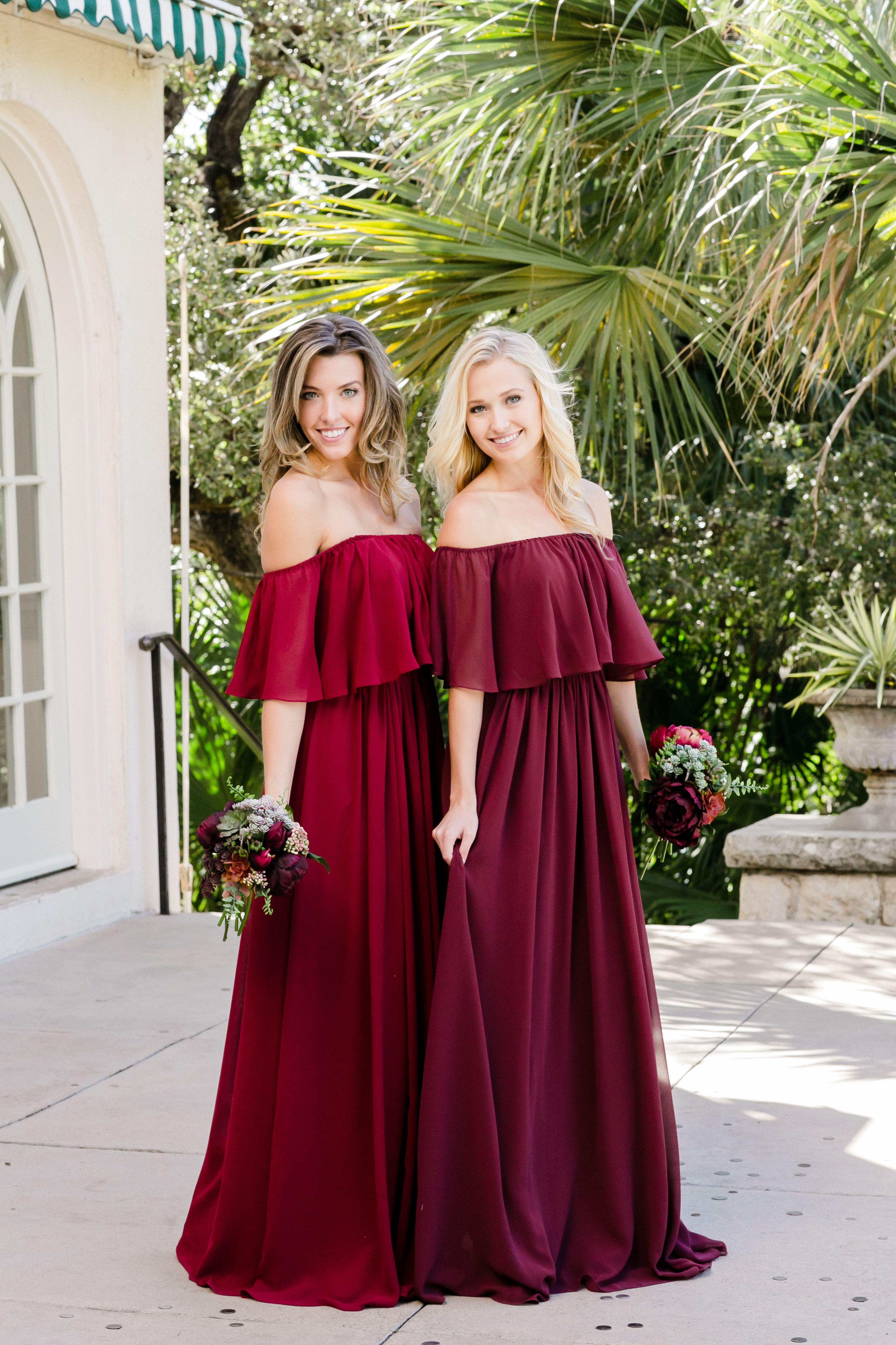 Abigail Chiffon Dress In 2020 Maroon Bridesmaid Dresses Bridesmaid Dresses Boho Bridesmaid Dresses Red Long