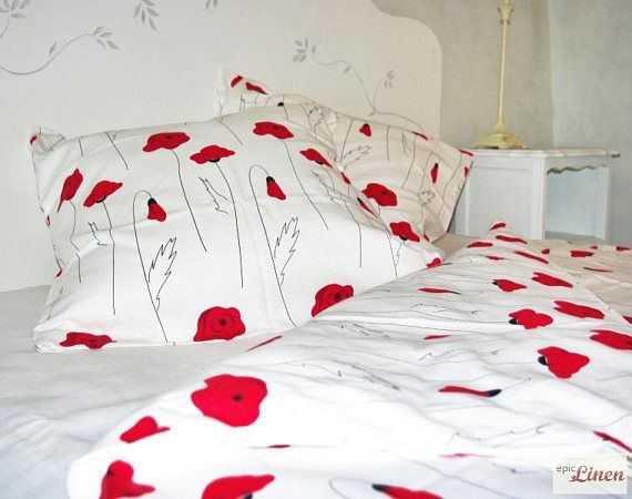 Clearance Linen Bedding Set White Field Red Poppy Duvet Bed Linen Sets Linen Bedding Bedding Set