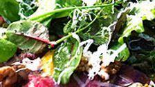 Kalvcarpaccio med babyblad och äggulekräm | SVT recept