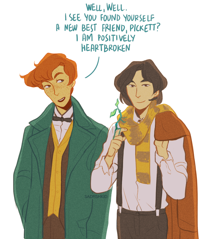 travelling magizoolist and his apprentice (and one bowtruckle with attachment issues) Newt Scamander, Credence Barebone and Pickett