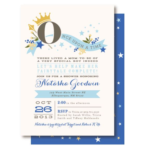 once upon a time prince baby shower invitations by
