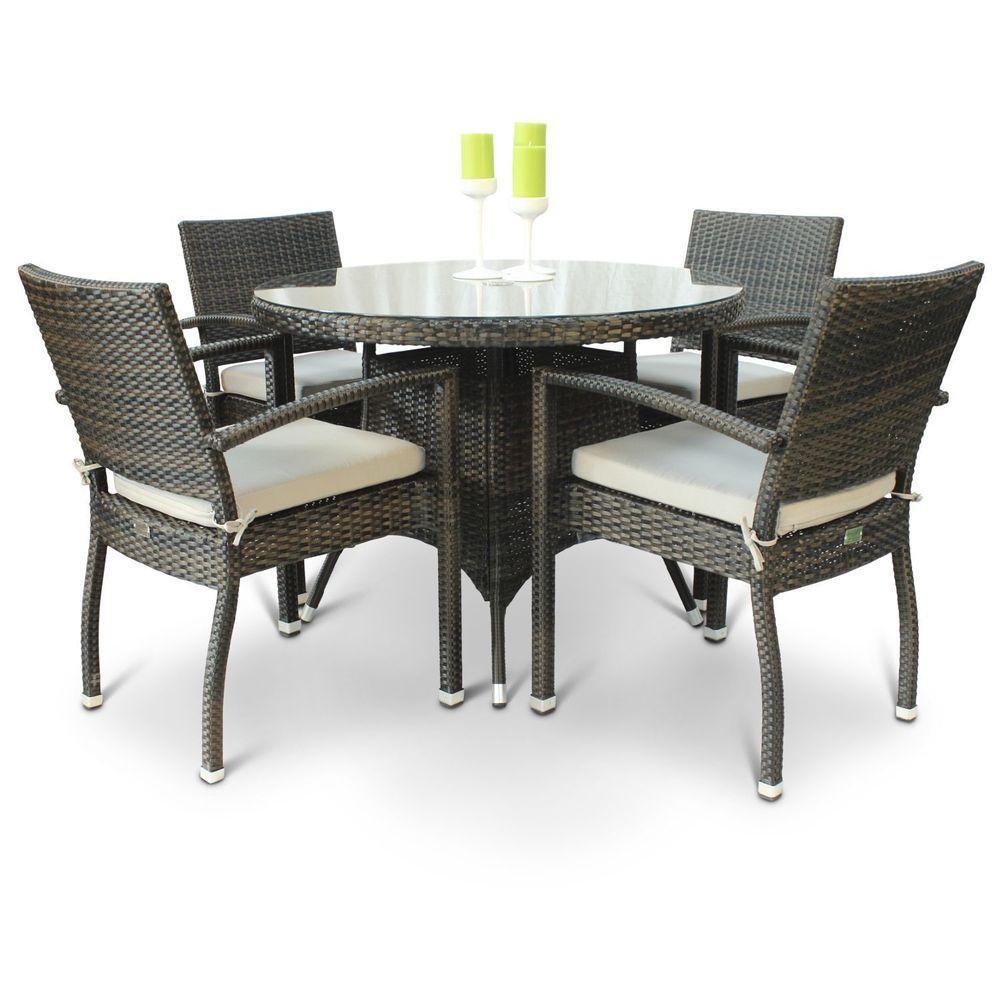 4 Seater Outdoor Dining Set Brown Rattan Round Glass Table Top Garden Furniture Furniture Garden Furniture Sets Outdoor Furniture Sets