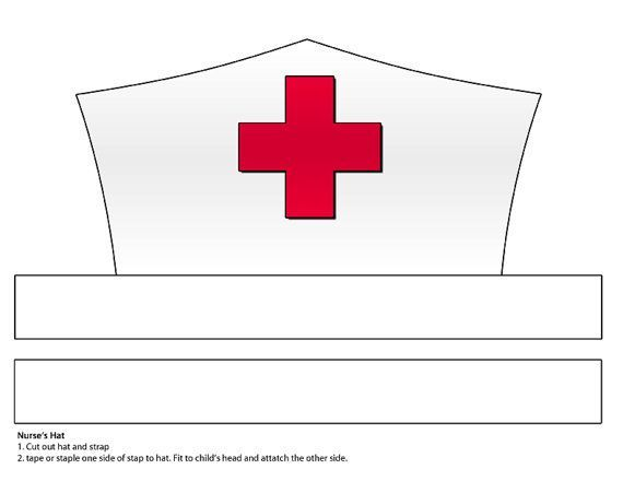 Old Fashioned image with printable nurse hat template