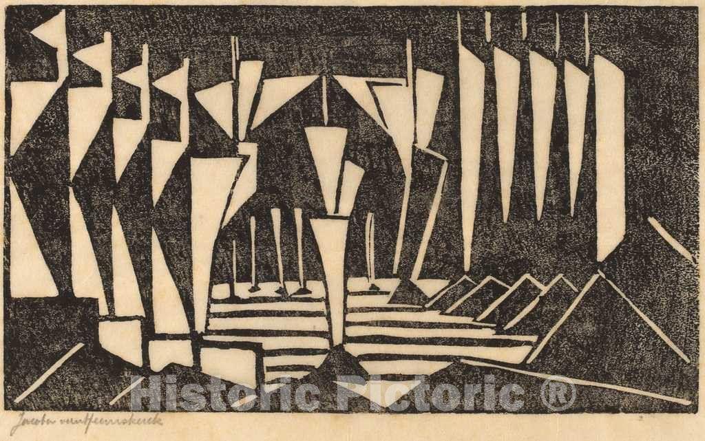 Artist: Jacoba van Heemskerck van Beest | Print: Stylized Sailboats | Original Medium: woodcut in black on japan paper