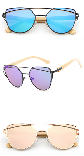 d85a273fbd4 HDCRAFTER Cat Eye Wood Bamboo Sunglasses Women Fashion Mirror Sunglasses  Women Brand Designer HD Glasses  fashion  style  shopping  love  summer   Sunglasses ...