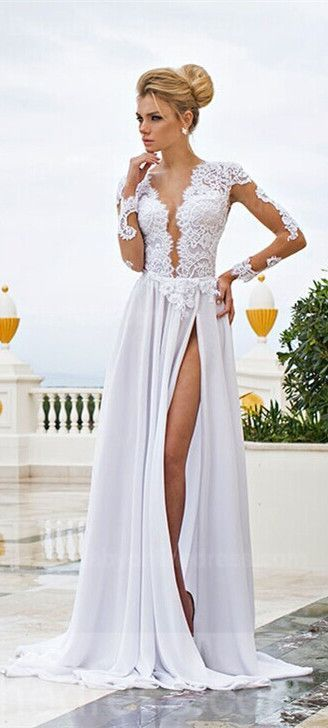 USD $129-- Long sleeve prom dress, lace chiffon wedding gown, such ...