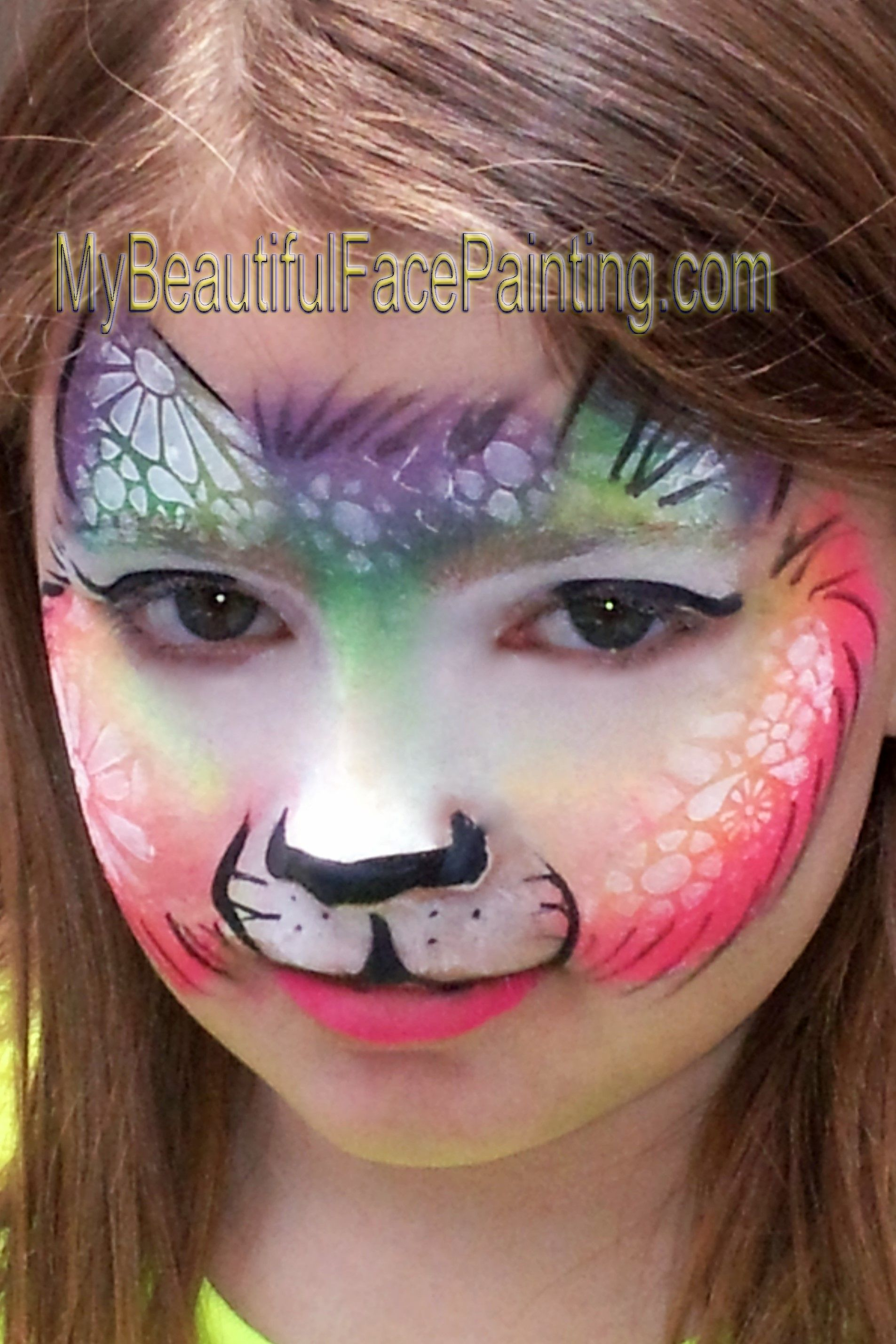 Uncategorized Face Paint Cat face painting rainbow cat starblend white dfx cake bam stencil with the