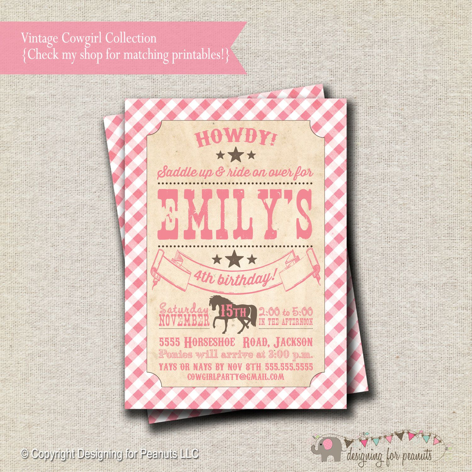 Pony Party Invitation - pink and brown | Vintage Cowgirl Invitation ...