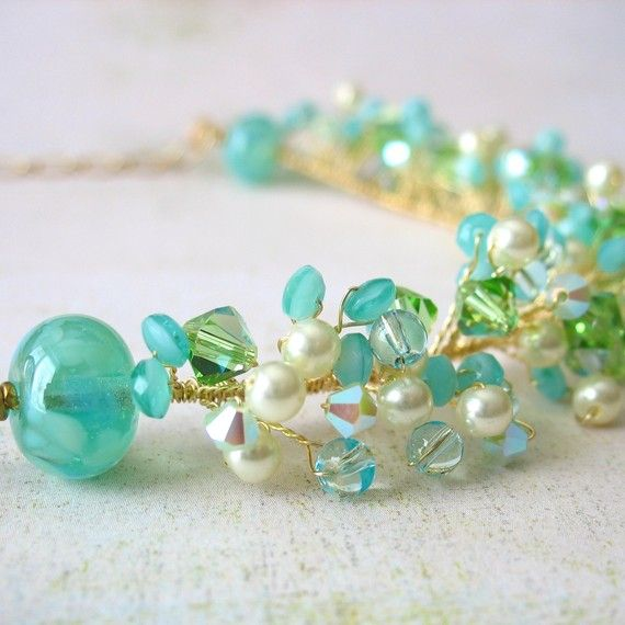 Aqua Necklace Beaded Wire Necklace Wire Twisted by FiveLittleGems, $69.00