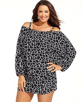 b59d68d4bd767 MICHAEL Michael Kors Plus Size Cover Up, Long-Sleeve Animal-Print Blouson - Plus  Size Swimwear - Plus Sizes - Macy's