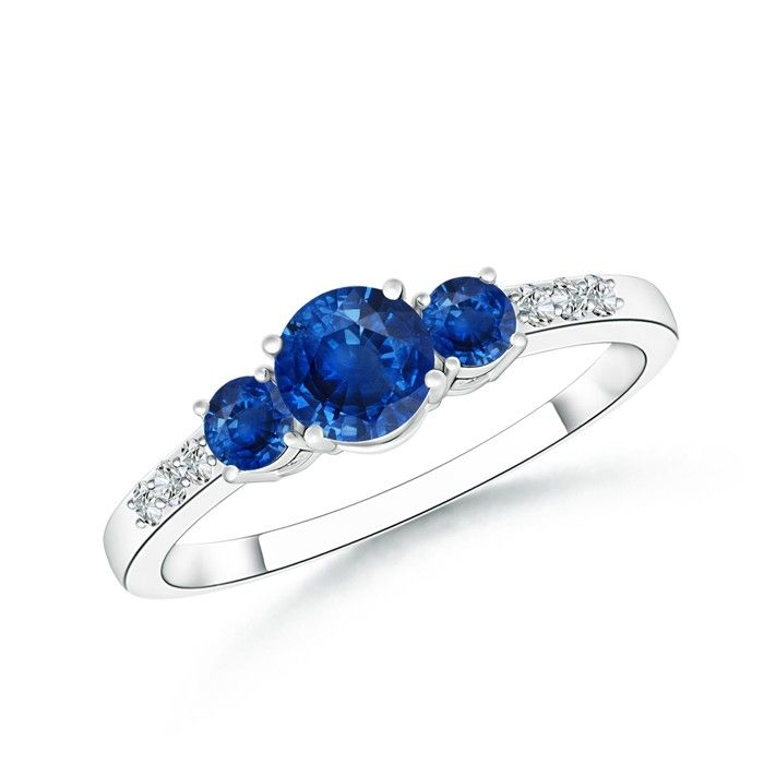 Angara 3 Stone Diamond Sapphire Ring in Platinum 6rPCu9A3nj