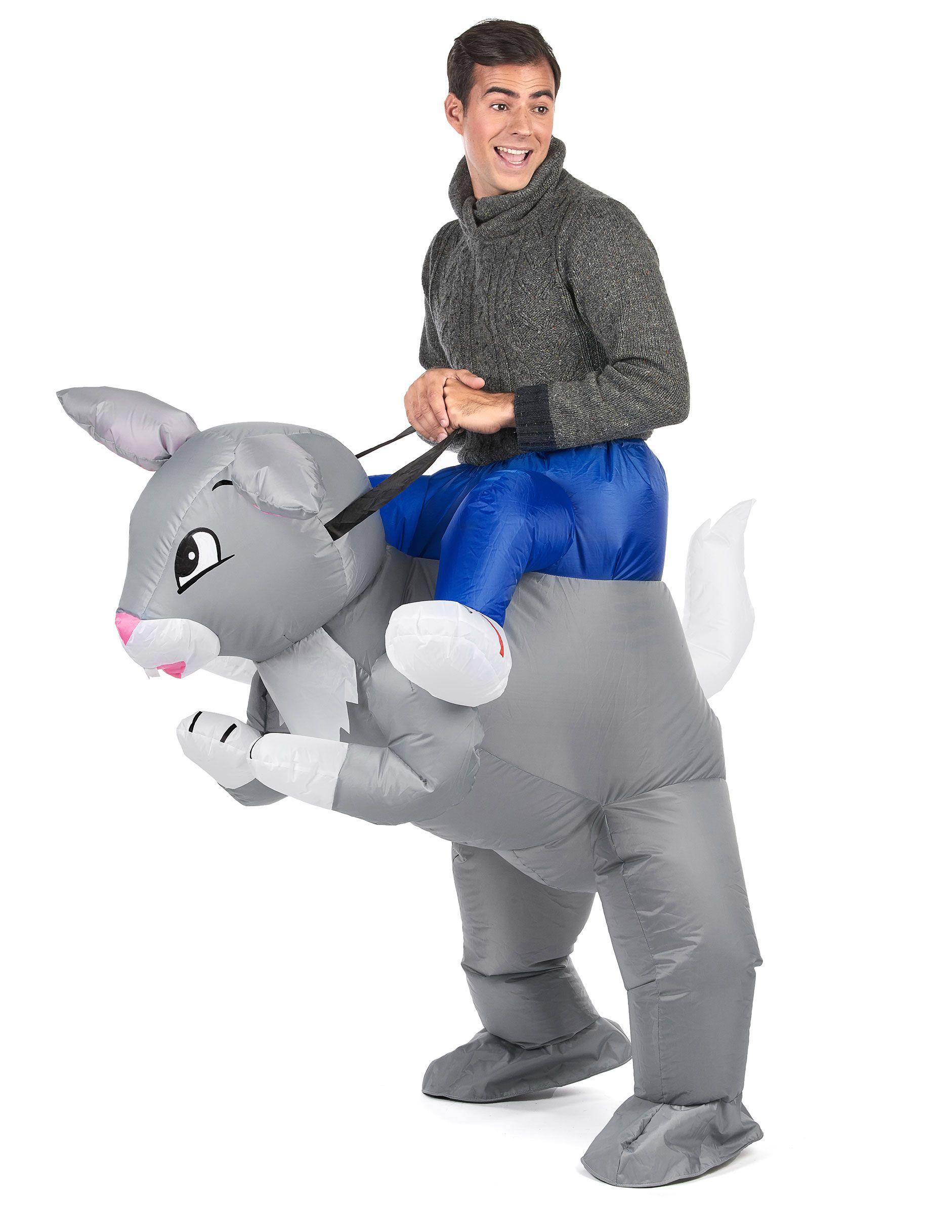 206c1ddf156d1a Déguisement lapin gonflable adulte   Ce déguisement pour adulte est celui  d un homme à dos de lapin. Ce costume s enfile à la manière d un pantalon  qui ...