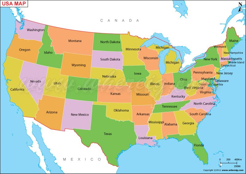 Us Map Or Map Of United States Of America Shows 50 Usa Staes States - Us-map-with-countries