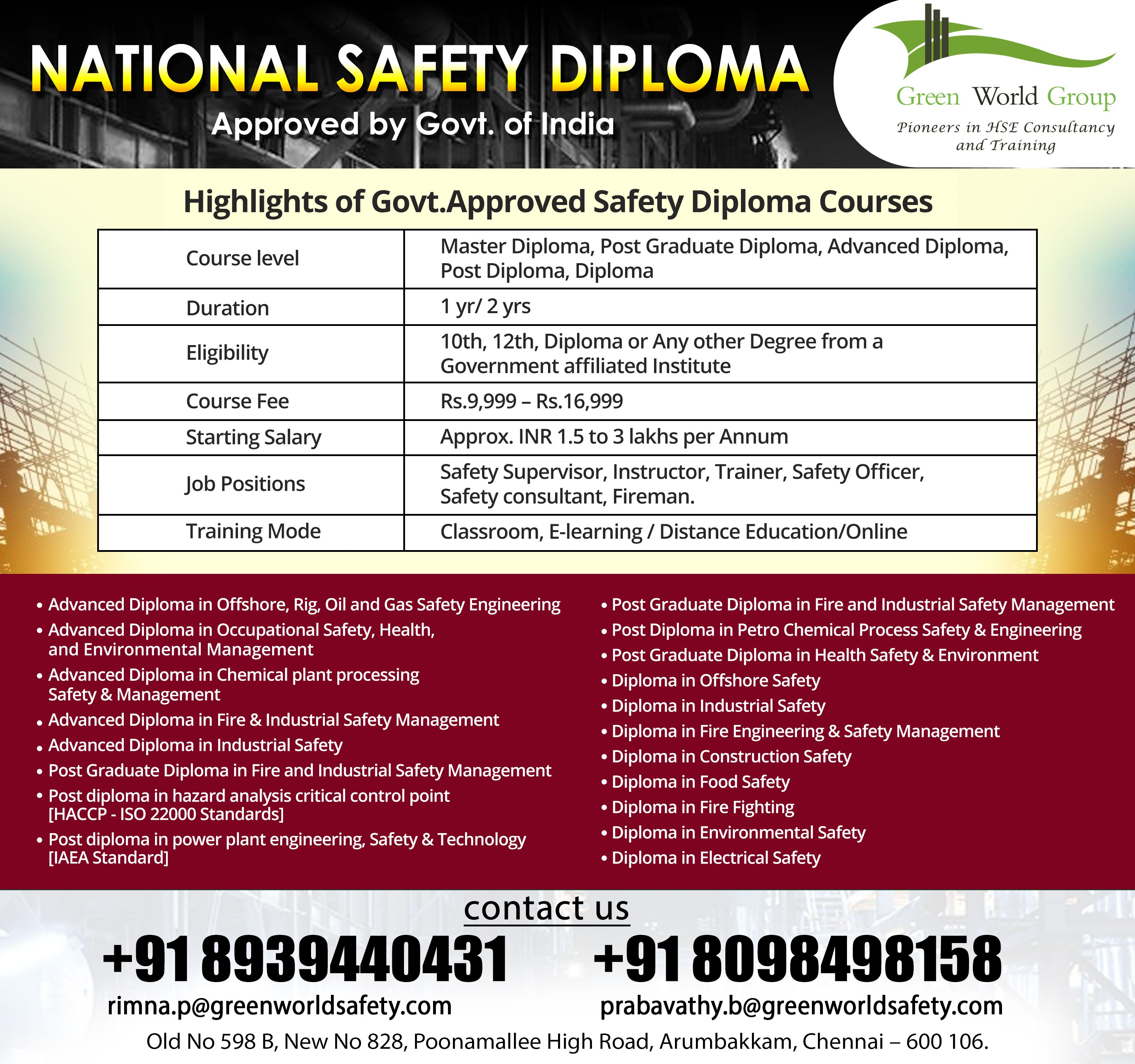 Safety Course in Chennai (With images) National safety