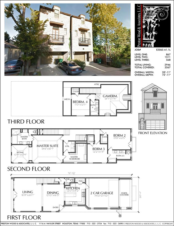 Townhouse Plan E2065 A1 1 Floor plans in 2019
