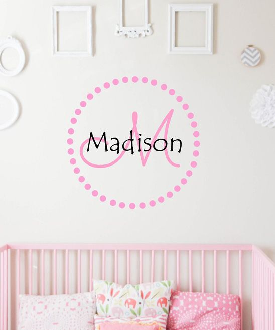 Soft Pink Dot Circle Personalized Decal | zulily
